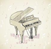 Sketch Piano — Stock Vector