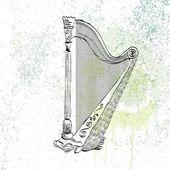 Concert harp — Stock Vector