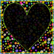 Colorful Flower Frame with Deep Black Heart — Stockvektor #13901303
