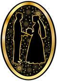 Gouden bruid en bruidegom op een zwarte achtergrond in ovaal — Stockvector