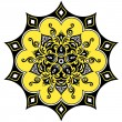 Kaleidoscopic floral pattern. Mandala in yellow black and white — Stock Vector