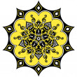 Kaleidoscopic floral pattern. Mandala in yellow black and white — Stock Vector #14450071