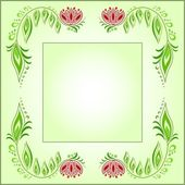 Square frame of floral motive on a green background — Stock Vector