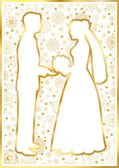 Gold bride and groom on a white square background — Stock Vector