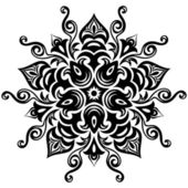 Kaleidoscopic floral pattern. Mandala in black and white — Stock Vector