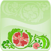 Floral square green frame with the shadow — Vector de stock