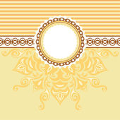Romantic background with pattern and label. Beige and Yellow — Stock Vector
