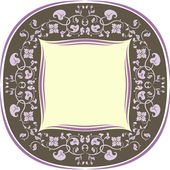 Floral pattern frame. Round. Brown and lilac — Stock Vector