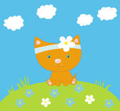 Kitten and flowers — Stock Vector