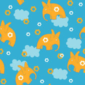 Elephants and clouds — Stock Vector