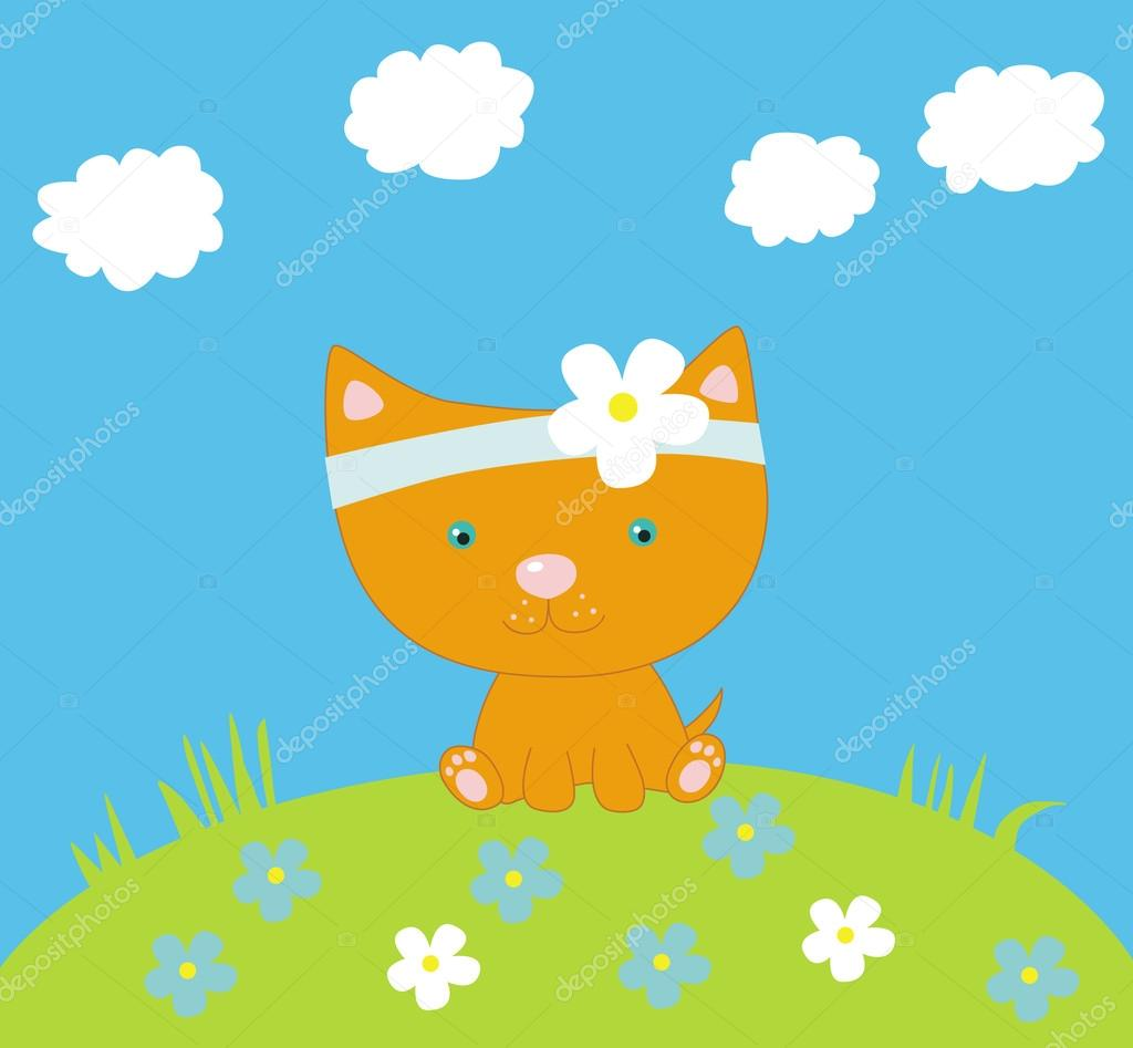 The illustration with funny litle kitten  Vettoriali Stock  #12017415