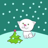 Christmas kitten — Stock Vector