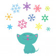 Stock Vector: Kitten and snowflakes
