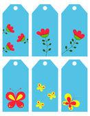 Blommor och fjärilar. etiketter — Stockvektor