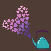 Teapot in love — Stock Vector