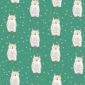 Owl and snow — Stock Vector