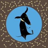 Zwarte hond — Stockvector