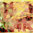 Abstract woodblock painting Collage - Stock Photo