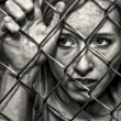 Woman Behind Fence - Foto de Stock