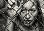 Woman Behind Fence — Stock Photo