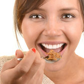 Woman Enjoys her Cereal — Stock Photo