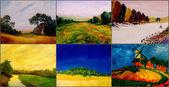 шесть пейзаж картины — Стоковое фото