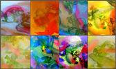6 Abstract watercolor paintings — Zdjęcie stockowe