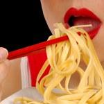 Woman Eating Pasta — Stock Photo