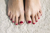 Red toenails — Stockfoto