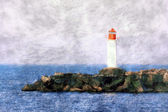 White lighthouse painting — Stockfoto