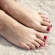 Red toenails — Stock Photo