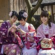 Stock Photo: Three japanese girls in kimono