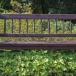 Stock Photo: Bench overgrown with weeds