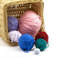 Colorful thread basket — Stock Photo
