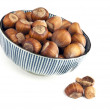 Bowl of hazelnuts — Stock Photo