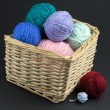 Basket full of yarn — Stock Photo