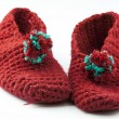 Red knitted slippers — Stock Photo #18831163
