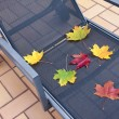 Deckchair at autumn — Stock Photo