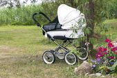 Modern white pram — Stock Photo