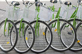 Bicycles in a row — Stock Photo