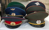 Soviet army caps — Stock Photo