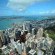 Auckland City & Harbour Aerial East, New Zealand - Stock Photo