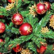 Foto de Stock  : Christmas Tree Decorated with Red Balls.