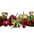 Christmas Border - Dolls, Apples & Berries Isolated on White Bac — Stock Photo #13875090