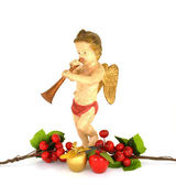 Christmas Cherub - Antique Doll with Apples & Berries on White B — Stock Photo