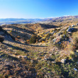 Bendigo High Country Farm Panorama, Otago New Zealand - Stock Photo
