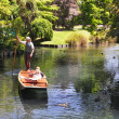 Stock Photo: Punting on Avon River, Christchurch, New Zealand