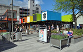 Christchurch Container Shopping Precinct Opened. — Stock Photo