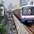 BTS Skytrain in Bangkok Celebrates thirteen years in Operation. — Stock Photo
