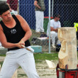 Competitor in the Overhand  Wood Chopping at the 2012 Canterbury - Stock Photo